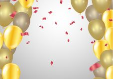 Balloons, vector illustration. Confetti and ribbons, Celebration. Background template with. explosion in center on a white background Stock Image
