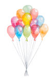 Balloons. Watercolored hand drawn balloons bunch isolated on white background royalty free illustration