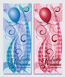 Balloons. Welcome. Oktoberfest. MUNICH. BAYERN. Beautiful greeting card with calligraphy red text words, curls. Painted design elements. Hand-written modern Royalty Free Stock Images