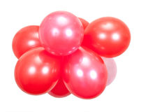 Balloons on white. Red and pink balloons on white stock photography