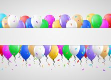 Balloons and white clean banner Stock Photos