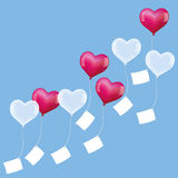 Balloons Wishes Soaring Hearts Pink White Stock Photo