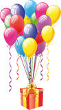 Balloons With Gift Box Royalty Free Stock Photography
