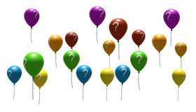 Balloons With Question-mark Symbols Royalty Free Stock Photos
