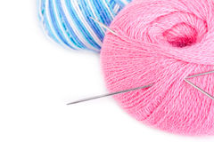 Balloons of yarn with knitting needles Royalty Free Stock Photography