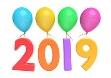 Balloons and year 2019 3d rendering. Colorful Balloons and year 2019 isolated in a white background 3d rendering Stock Images