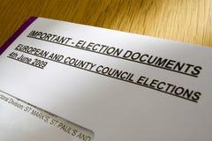 ballot документирует избрание Стоковое Фото