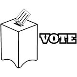 коробка ballot предпосылки голубая падая изолированная политическая красная белизна Стоковые Изображения RF
