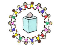 Ballot box. With a Smiling Multiracial Children Circle Stock Images