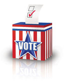 Ballot Box. Digital Illustration of a Ballot Box with a election ballot inserted Stock Images