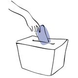 Ballot box. A sketch of a ballot box, also available in black background Stock Photo