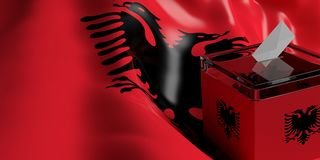 Ballot box on Albania flag background, 3d illustration. Glass ballot box on Albania flag background, 3d illustration Stock Photos