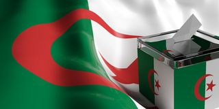 Ballot box on Algeria flag background, 3d illustration. Glass ballot box on Algeria flag background, 3d illustration Stock Photo