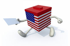 A ballot box with arms and legs. 3d illustration Stock Photo