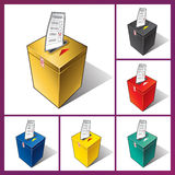Ballot box and ballot. Falling ballot in the ballot box. The voter votes in elections Royalty Free Stock Photos