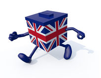 Ballot Box with British flag and arms and legs. 3d illustration Royalty Free Stock Image
