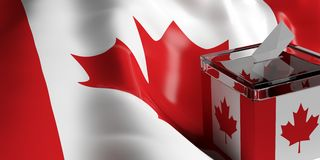 Ballot box on Canada flag background, 3d illustration. Glass ballot box on Canada flag background, 3d illustration Royalty Free Stock Images