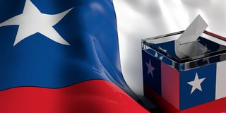 Ballot box on Chile flag background, 3d illustration. Glass ballot box on Chile flag background, 3d illustration Stock Photo