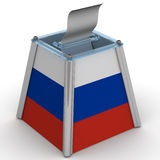 Ballot box in the colors of the flag of the Russian Federation. Transparent ballot box to vote in the colors of the flag of the Russian Federation with ballot Stock Photos