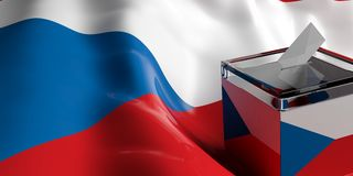 Ballot box on Czech Republic flag background, 3d illustration. Glass ballot box on Czech Republic flag background, 3d illustration Stock Photos