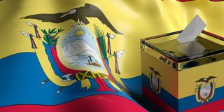 Ballot box on Ecuador flag background, 3d illustration Stock Images
