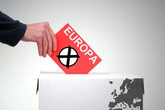 Ballot box - Election Europe. Ballot box and hand with red envelope: Election in Europe stock photo