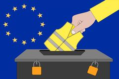Ballot box for the European elections with yellow vest protest. A ballot box for the European elections with yellow vest protest royalty free illustration