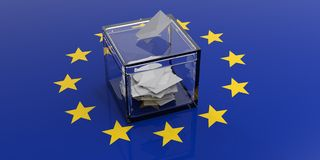 Ballot box on a european union flag. 3d illustration. Ballot box on a european union flag background. 3d illustration Royalty Free Stock Images