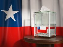 Ballot box with flag of Chile and voting papers. Chilean preside Stock Photo