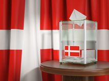 Ballot box with flag of Denmark and voting papers. Danish presid Stock Image