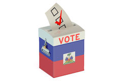 Ballot box with flag of Haiti. On white background Stock Photography