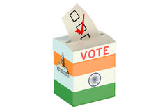 Ballot box with flag of India Stock Photo