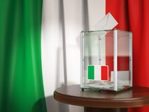 Ballot box with flag of Italy and voting papers.Italian resident. Ballot box with flag of Italy and voting papers. Italian presidential or parliamentary election Royalty Free Stock Photo