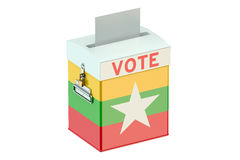 Ballot box with flag of Myanmar. On white background Royalty Free Stock Image