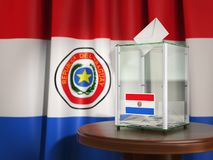 Ballot box with flag of Paraguay and voting papers. Paraguayan p Stock Images