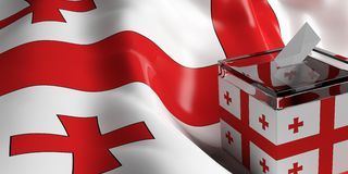 Ballot box on Georgia flag background, 3d illustration. Glass ballot box on Georgia flag background, 3d illustration Royalty Free Stock Images