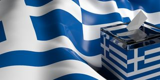 Ballot box on Greece flag background, 3d illustration. Glass ballot box on Greece flag background, 3d illustration Stock Photos