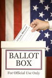 Ballot Box With Hand Voting Vertical Stock Images