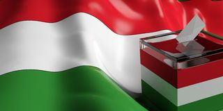 Ballot box on Hungary flag background, 3d illustration. Glass ballot box on Hungary flag background, 3d illustration Royalty Free Stock Photography