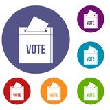 Ballot box icons set. In flat circle red, blue and green color for web Royalty Free Stock Images