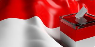 Ballot box on Indonesia flag background, 3d illustration. Glass ballot box on Indonesia flag background, 3d illustration Royalty Free Stock Images