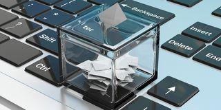 Ballot box on a laptop. 3d illustration. Ballot box on a keyboard. 3d illustration Stock Images
