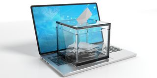 Ballot box on a laptop. 3d illustration. Ballot box on a laptop on white background. 3d illustration Royalty Free Stock Image