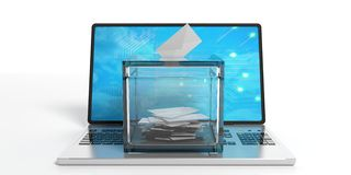 Ballot box on a laptop. 3d illustration. Ballot box on a laptop on white background. 3d illustration Stock Photography