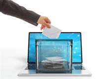 Ballot box on a laptop. 3d illustration. Ballot box on a laptop on white background. 3d illustration Stock Image