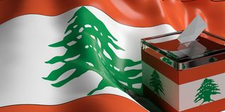 Ballot box on Lebanon flag background, 3d illustration. Glass ballot box on Lebanon flag background, 3d illustration Stock Image