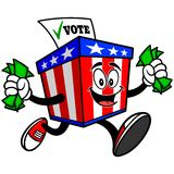 Ballot Box Mascot with Money Royalty Free Stock Photos