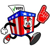 Ballot Box Mascot Running with Foam Finger Royalty Free Stock Photography
