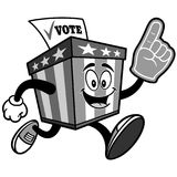 Ballot Box Mascot Running with Foam Finger Illustration Royalty Free Stock Images