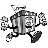Ballot Box Mascot Running with Money Illustration Stock Photography